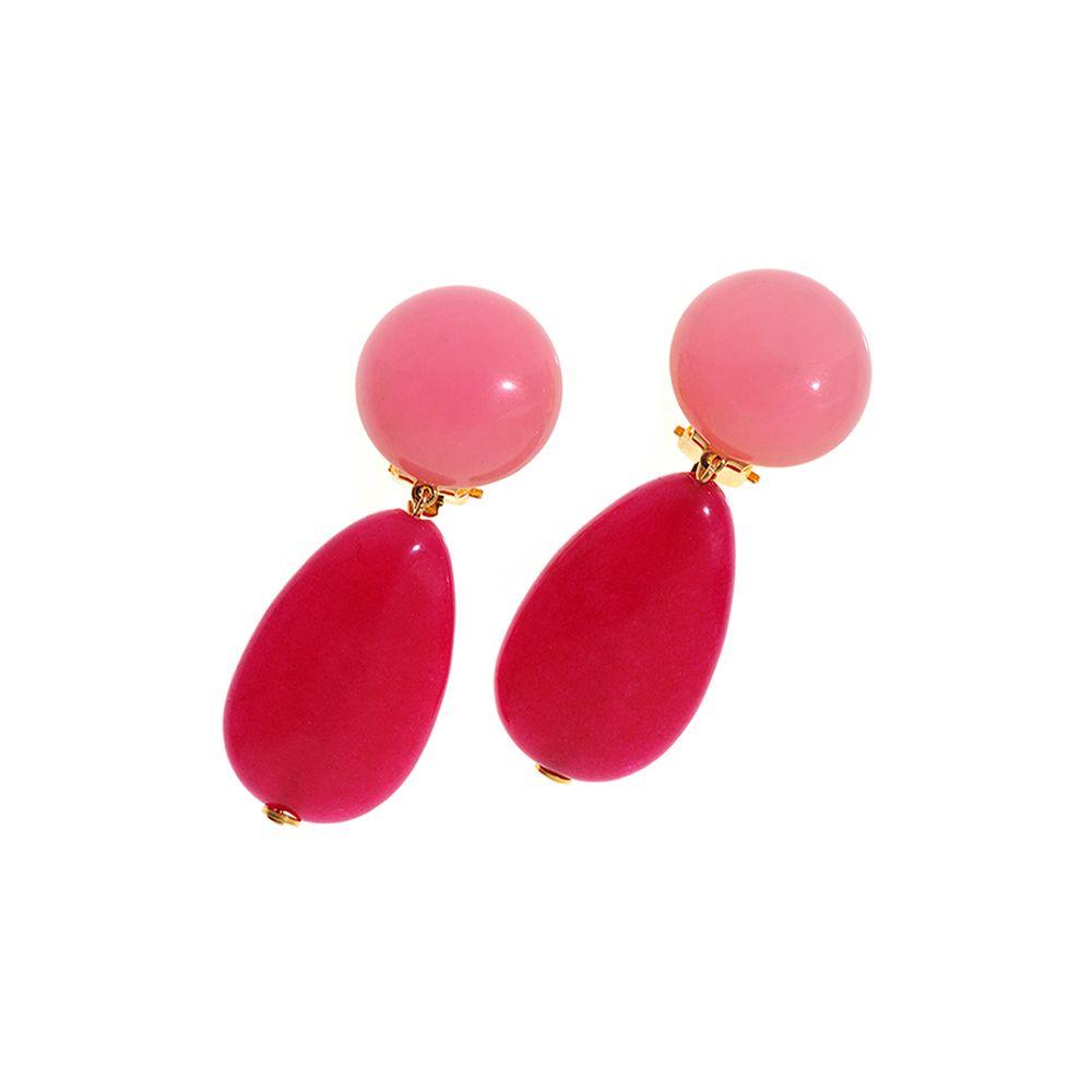 Sommerliche Ohrclips mit rosa- und pinkfarbenem Achat