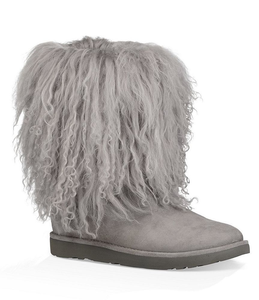 5dbdeaf811f NEW WOMENS SIZE 6 NATURAL UGG 1017516 LIDA MONGOLIAN SHEEPSKIN SUEDE ...