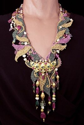 Barbara Natoli Witt   ~  Long scarf style necklace with antique Kundan brooch of 22k gold set with tourmalines, rubies, pearls, and diamonds -  beads of rubelite, tourmaline, 22k gold, and pearls. Necklace #1582