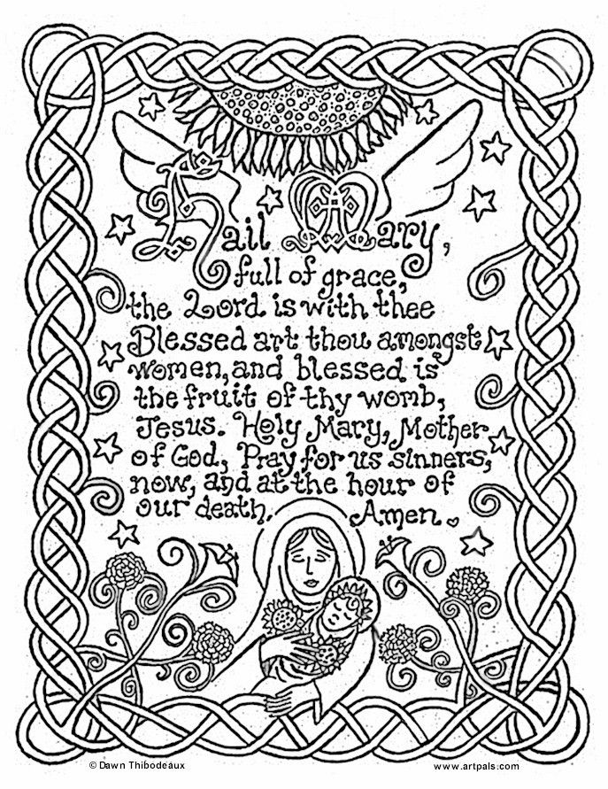 catholic printables] | Hail Mary Catholic Coloring Page | Catholic ...