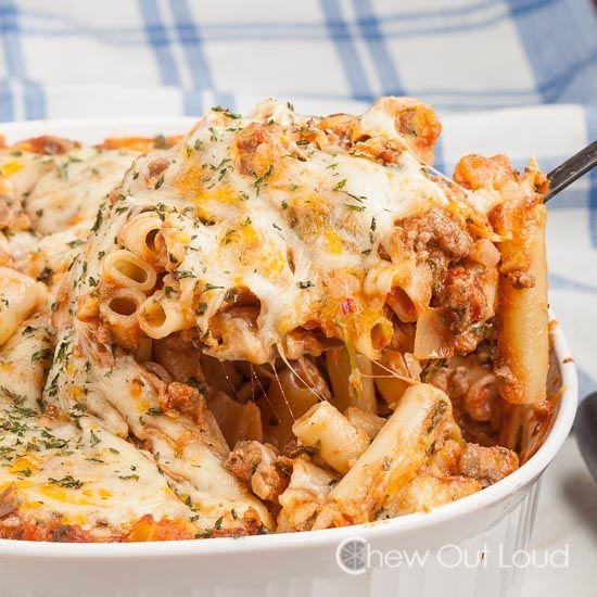 Cheesy Creamy Baked Ziti | Recipe | Meat, Ravioli bake and ...