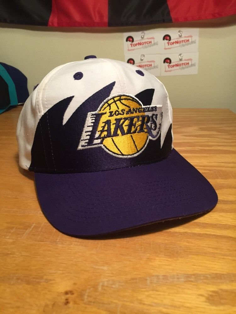 online store a403d c98e1 Vintage Los Angels Lakers Sharktooth Snapback Hat Logo 7  NBA  Basketball  90s from  100.0