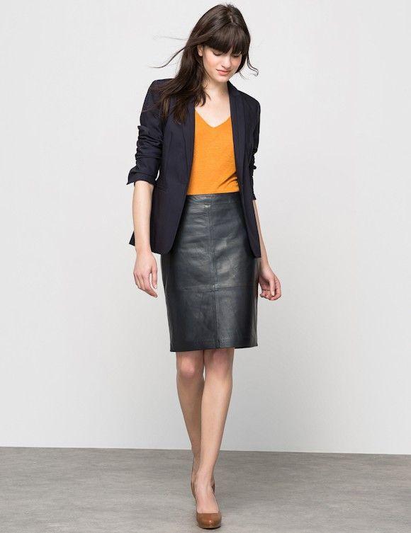 Tenue de bureau classe avec jupe cuir | Jupe droite, Jupe