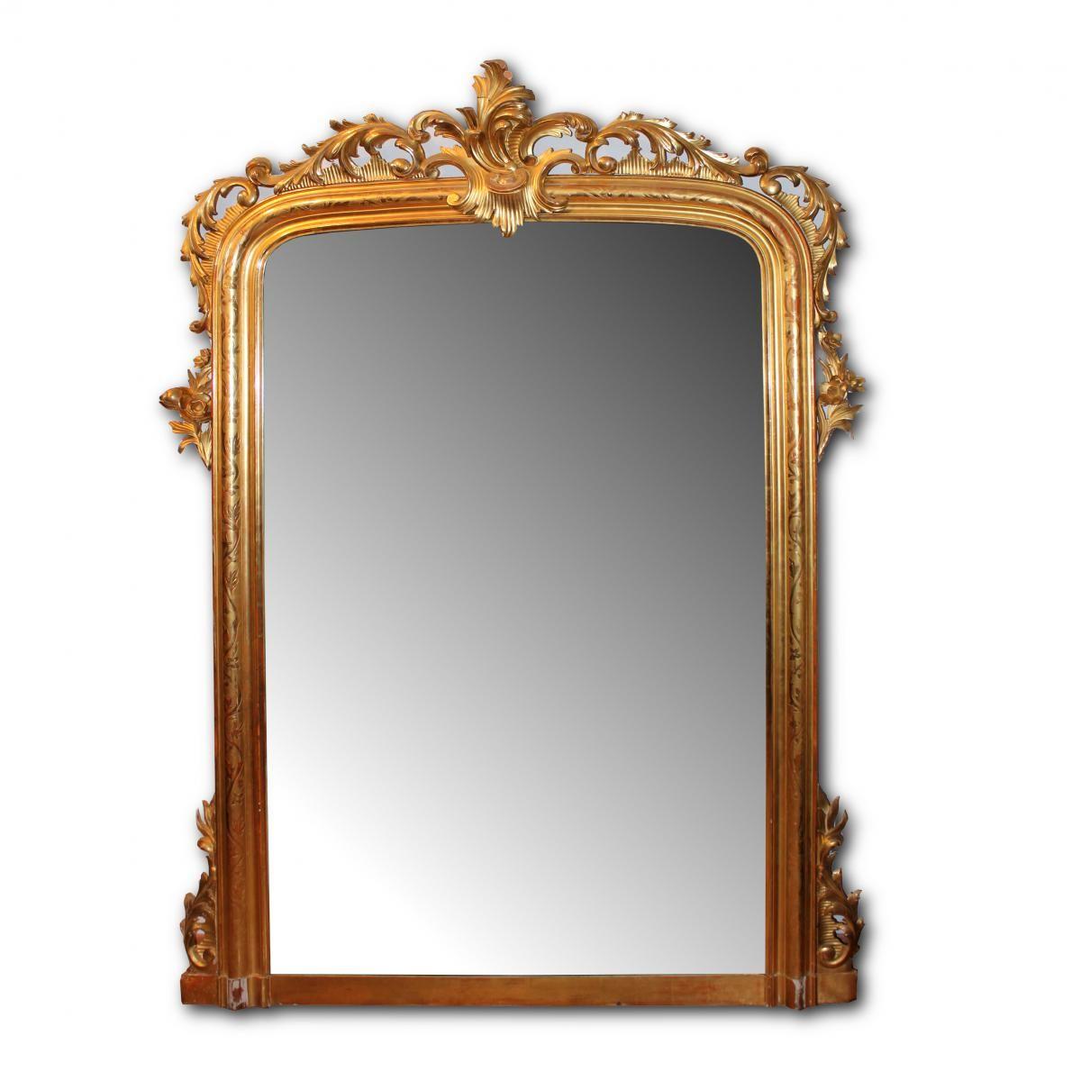 Grand Miroir en bois finement sculpté et doré, Borrelli Antichità, Proantic