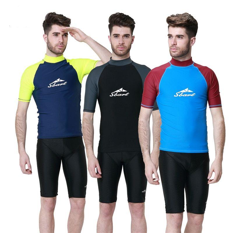 0c6032991b3 High Quality Mens Swimming Shirt Wetsuit Swimwear UPF50 Rash Guards Male  Windsurf Surfing Clothes Short Sleeve