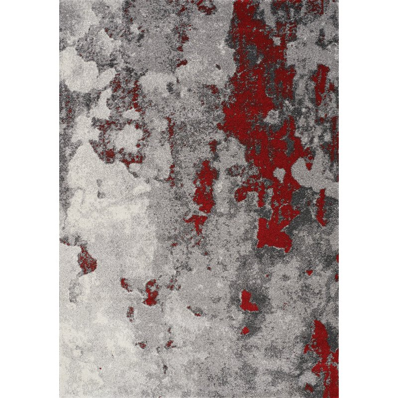2 X 4 X Small Gray And Red Distressed Area Rug Freemont With
