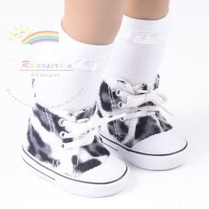 """Cons Sneakers Shoes Faux Fur White/Black Leopard for 18"""" American Girl dolls"""
