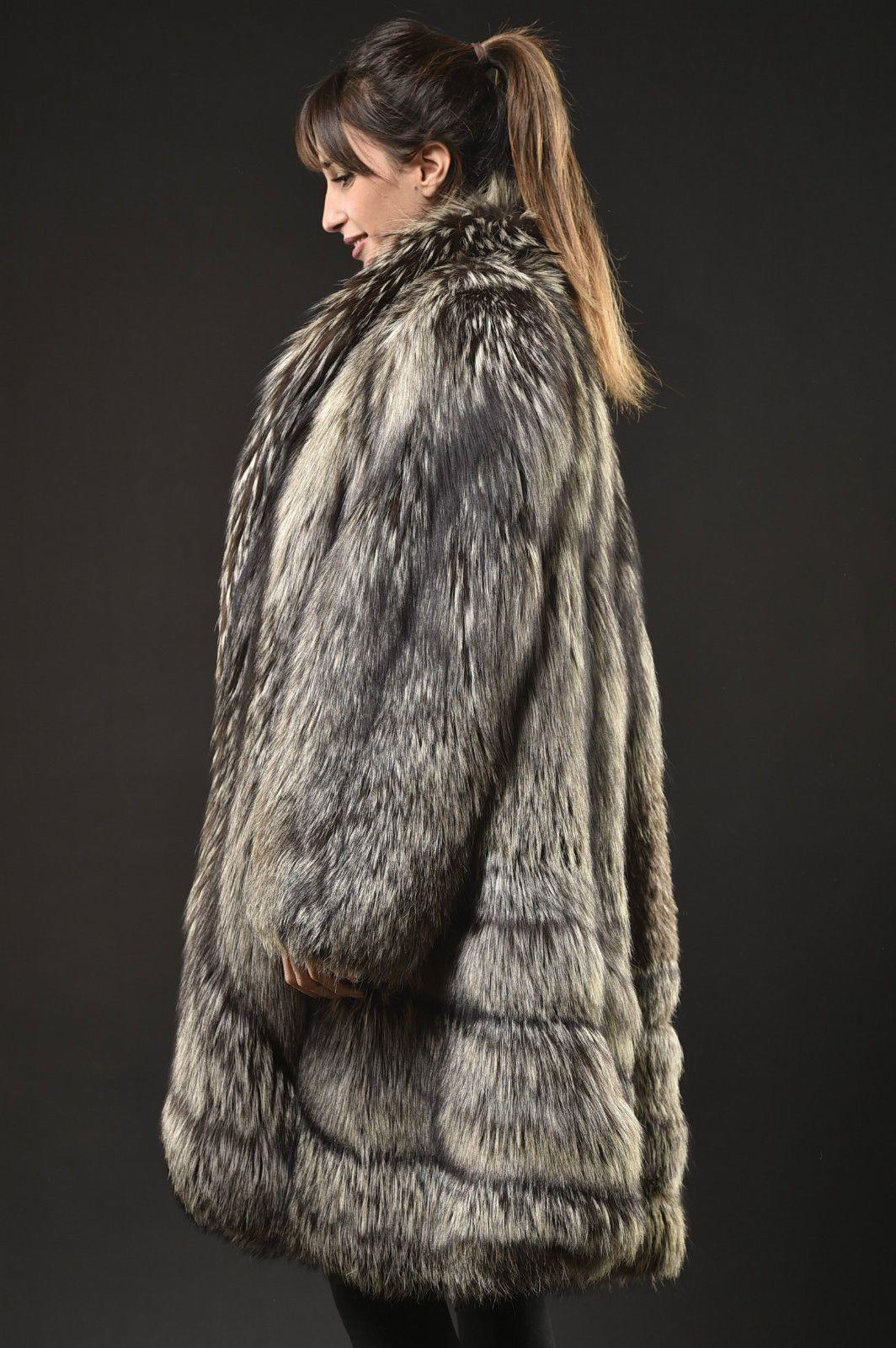silver fox fur coat manteau pelisse fourrure renard argent pelliccia volpe ebay fur66. Black Bedroom Furniture Sets. Home Design Ideas