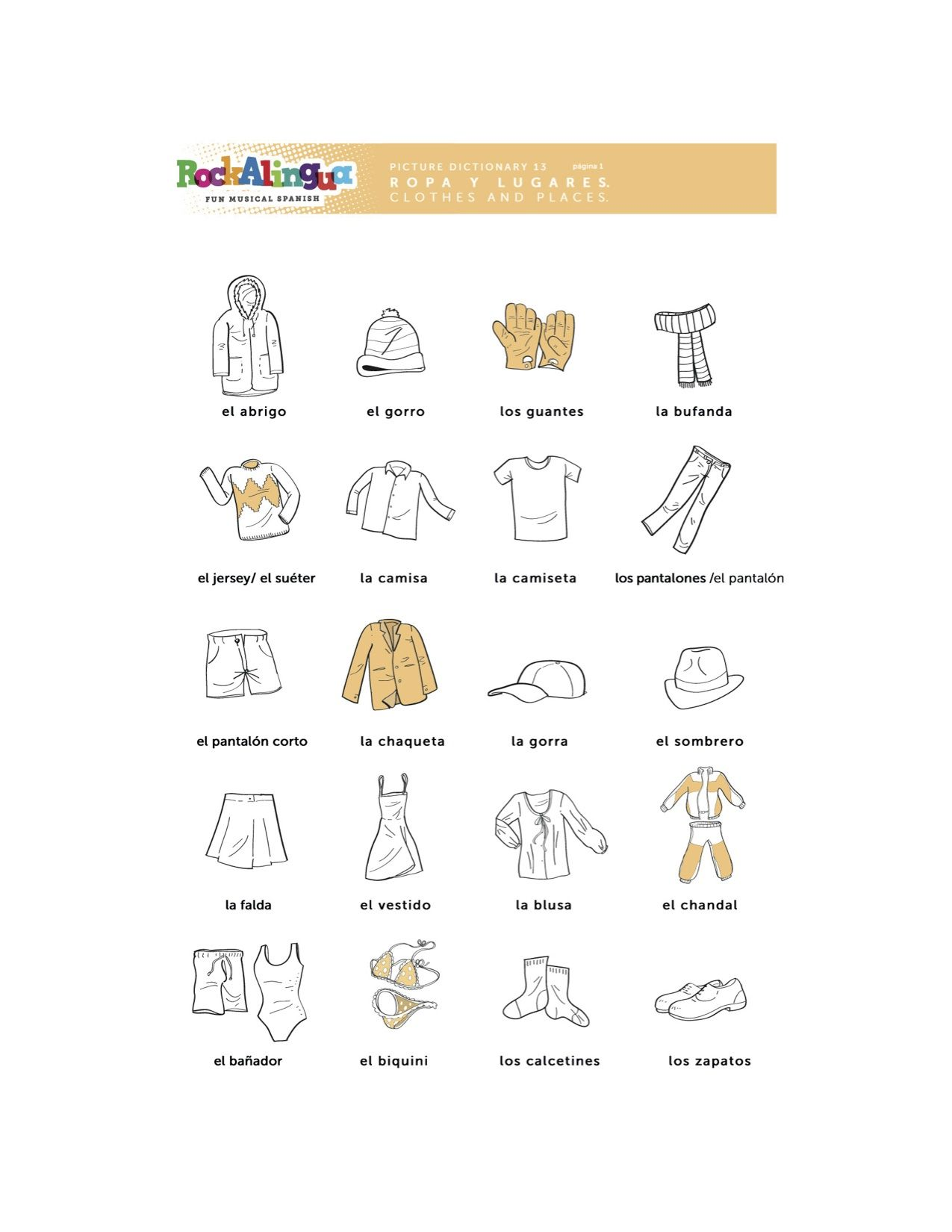 Spanish Worksheet about clothes, places and weather more ...