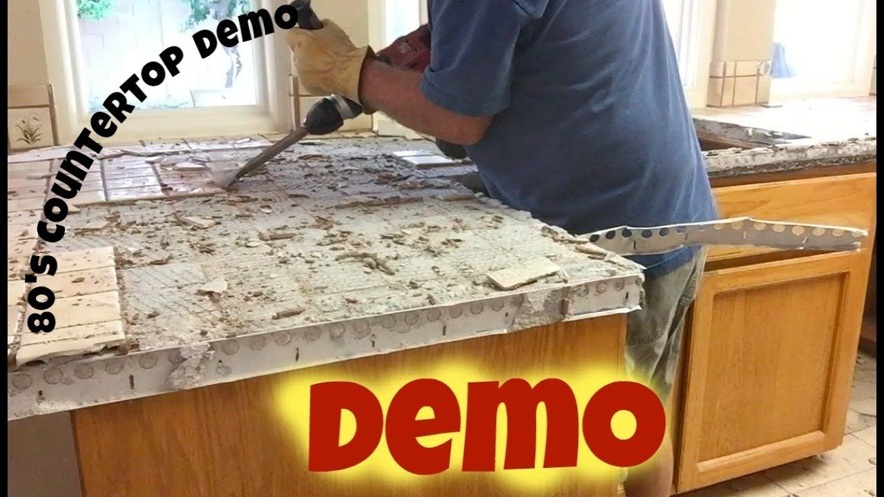 How To Remove An Old Tile Kitchen Countertop Tile Countertops Kitchen Kitchen Tiles Countertops