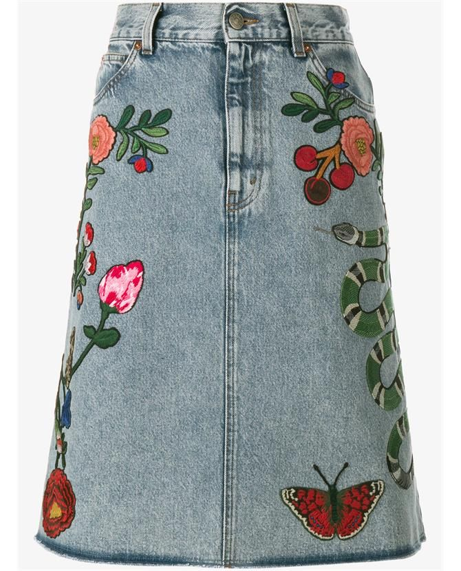 1fd6f7a35482 Gucci Floral   Snake Embroidered Denim Skirt  gucci  cloth