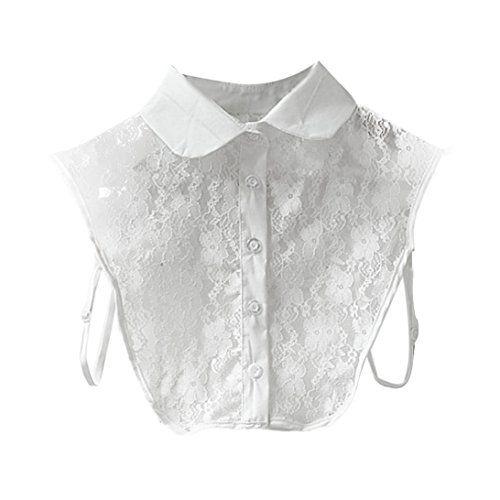 Sunward Women Girls Vintage Lace Half Shirt Round Collar Detachable Blouse Tie