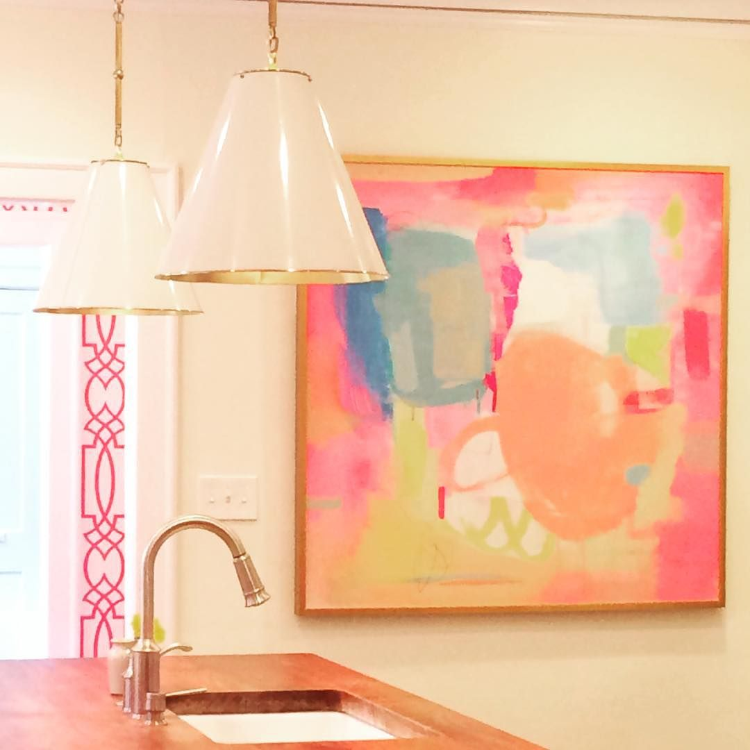 An abstract painting and modern pendants updated this space in Chapel Hill without compromising the beautiful historic architecture #AnneWagonerInteriors #accents #details #finishingtouches