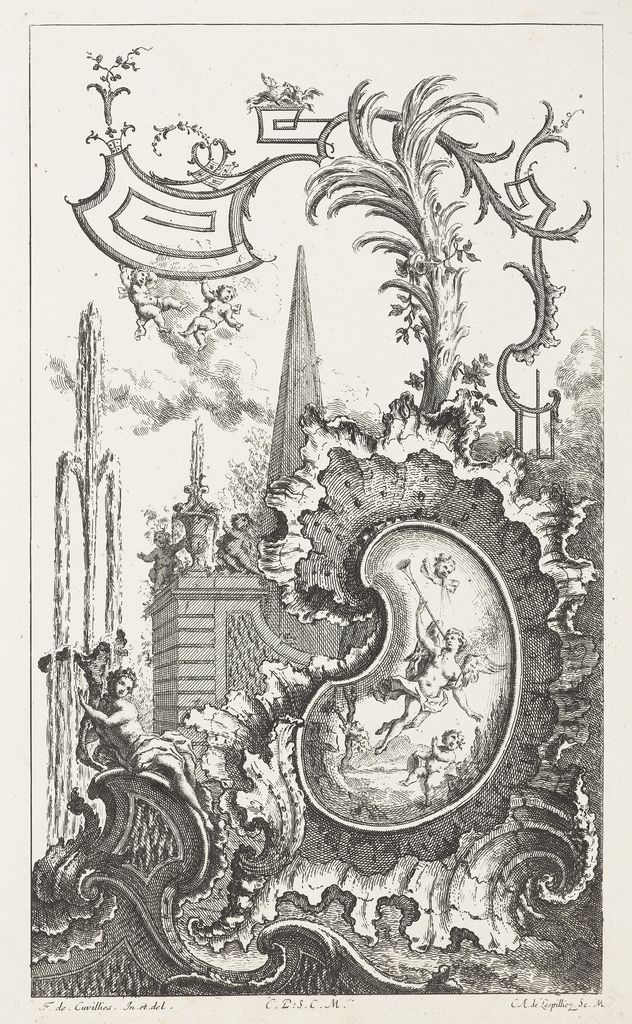 Print, Design for Cartouche with Nude Blowing Horn, in Livre ...