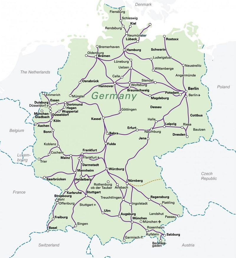 Rail map of Germany with main city and high-speed train ...