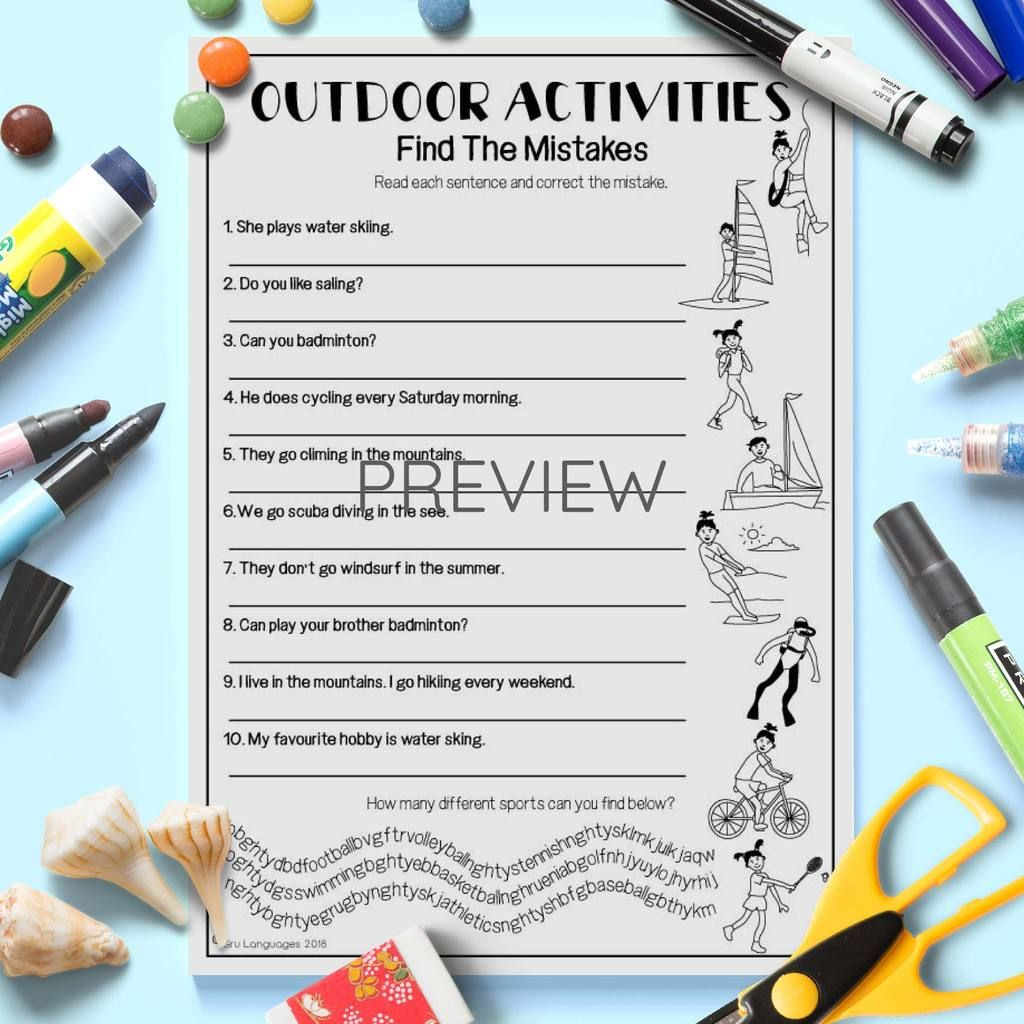 Outdoor Activities Find The Mistakes In