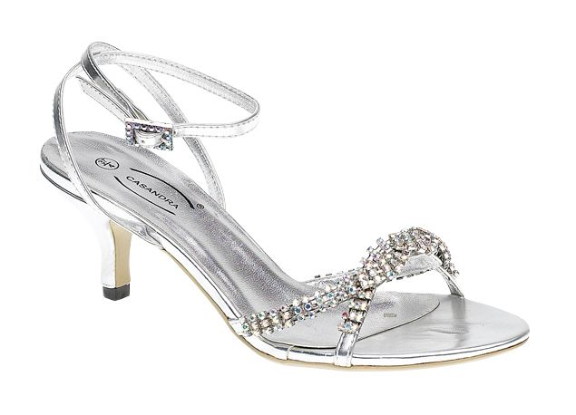 Silver Low Heel Wedding Bridesmaid Party Bridal Ladies Sandals Shoes Silver Wedding Shoes Low Heel Silver Low Heels Bridal Shoes Low Heel