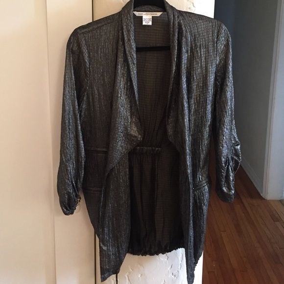 DVF duster jacket Diane Von furstenberg silver metallic duster jacket. super cool!! drawstring bottom Diane von Furstenberg Jackets & Coats