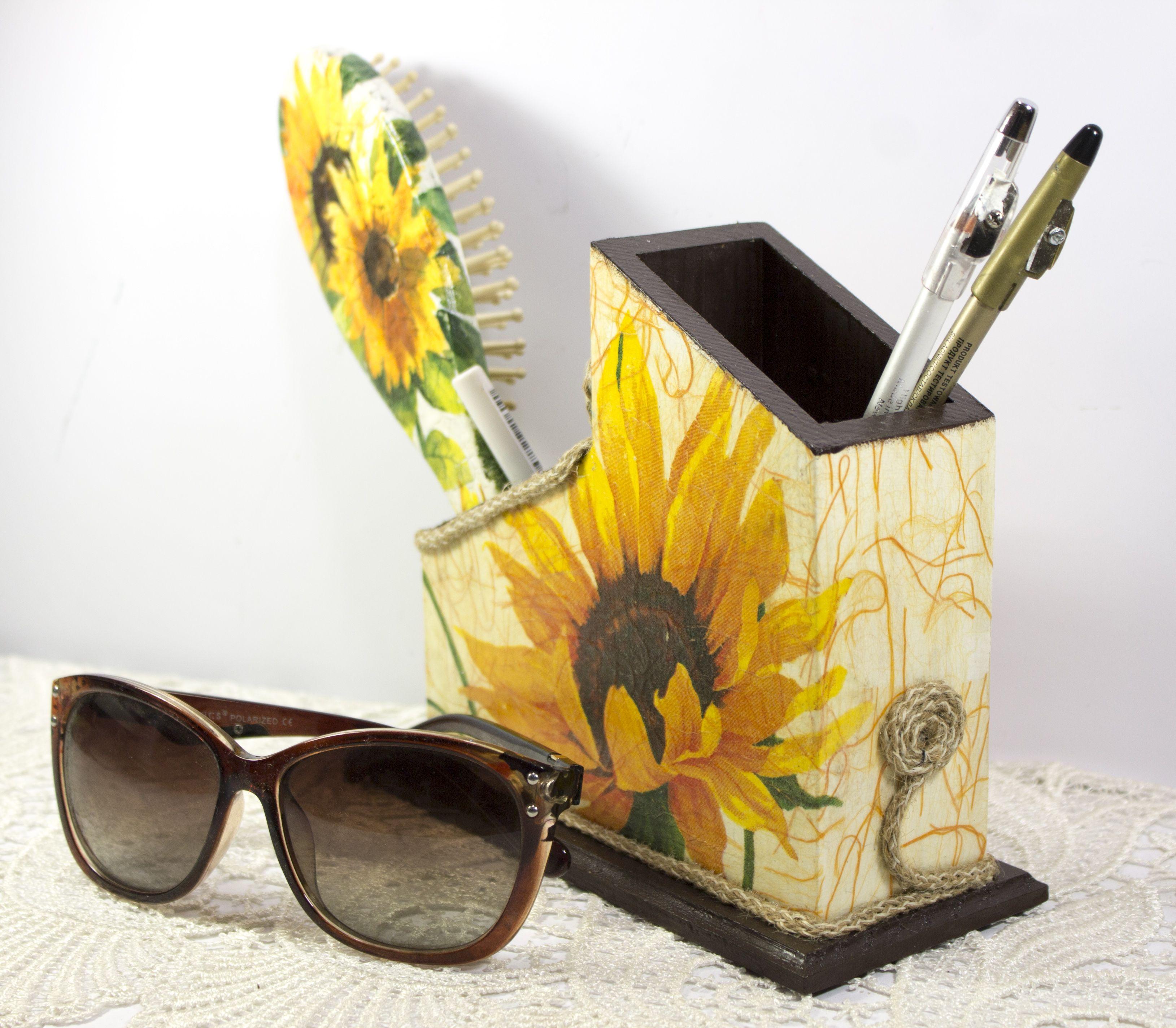 Sunflower gift, pencil holder, pen holder, desk organizer