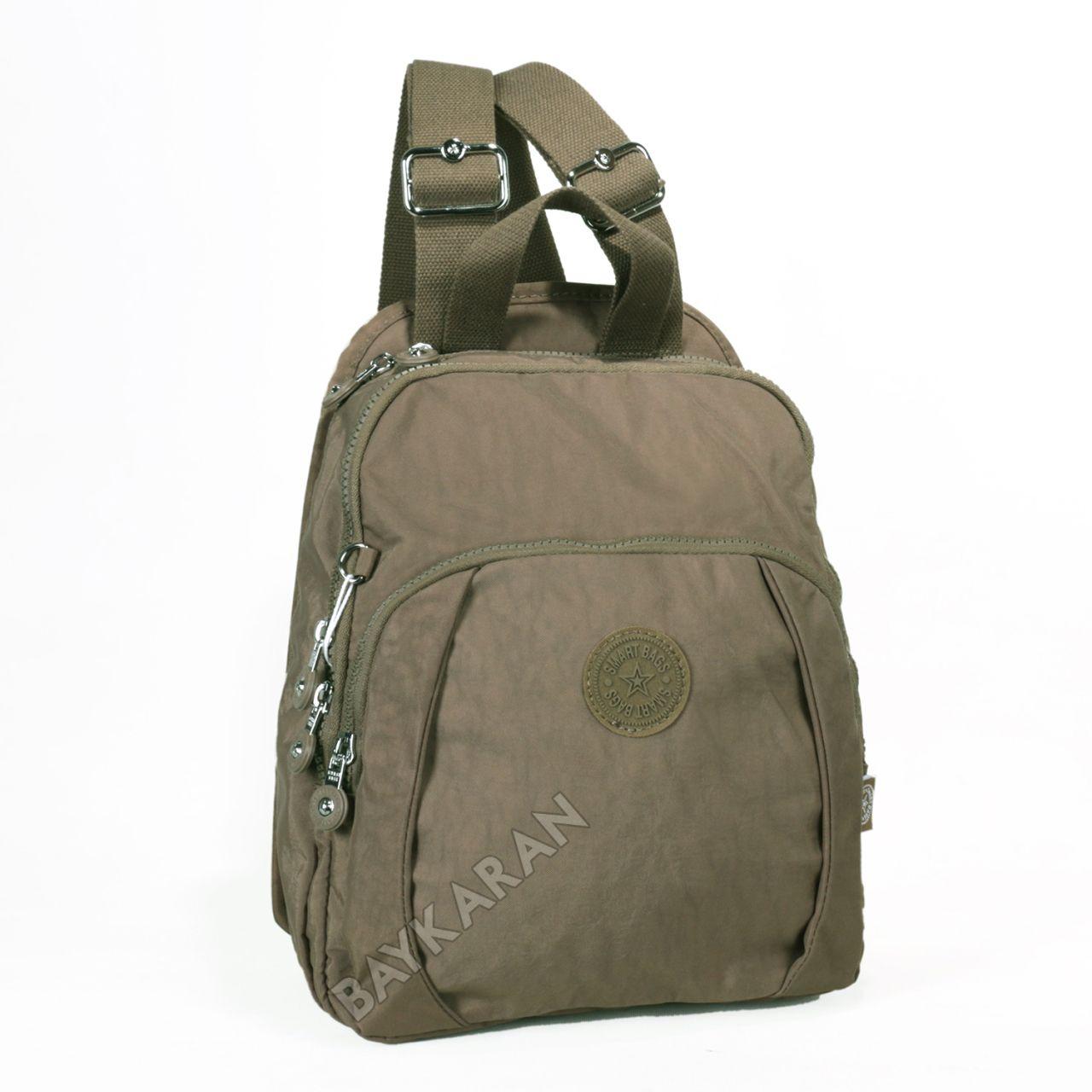 42857e8e0933b KÜÇÜK BOY 1167-07 Açık Kahve Krinkıl Kumaş Bayan Sırt Çantası Smart Bags