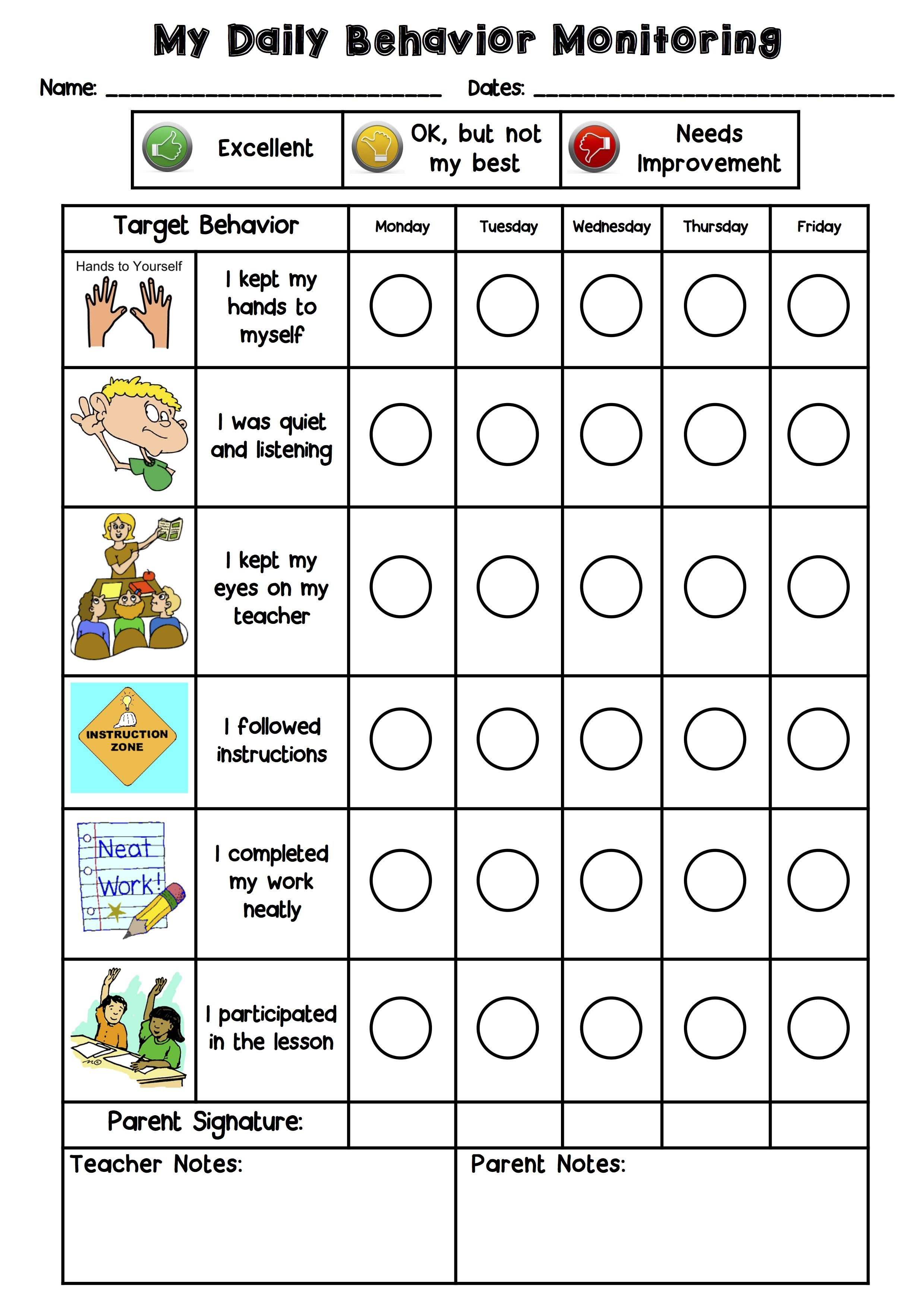 This is the behavior chart that I created with a Grade 2 ESL student ...