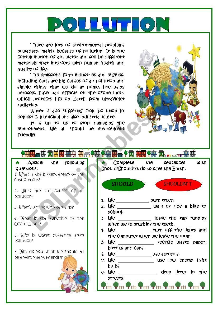 An Easy Reading On The Topic Pollution Followed By Two Exercises Answer Pollution Activities Worksheets Reading Comprehension For Kids Reading Comprehension [ 1169 x 826 Pixel ]