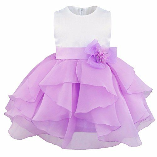 44529bd88305 FEESHOW Baby Girls Organza Ruffle Wedding Party Christening Baptism ...
