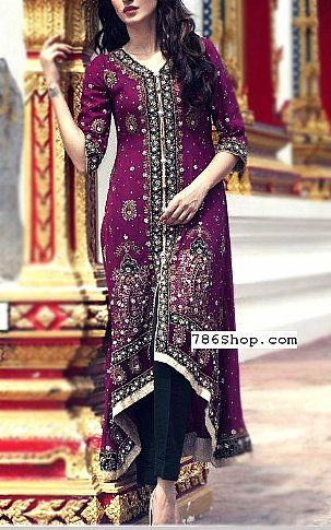 7dd6221395 Indigo Crinkle Chiffon Suit | Buy Designer Party Pakistani Dresses and  Clothing online in USA, UK