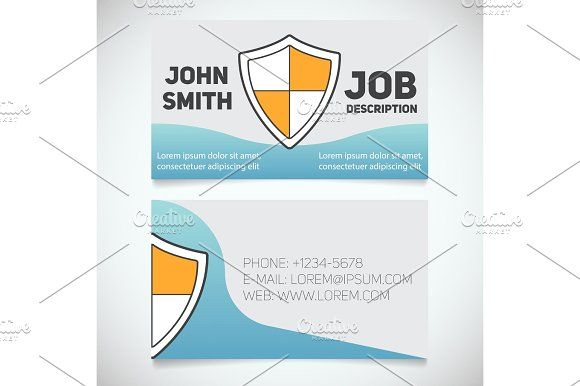 Business card print template with shield logo | Shield logo, Print ...