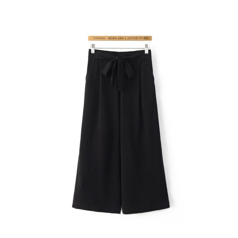 New Black Ladies Women's Fashion Wide Leg Pants Women Beach Clothing Loose Elastic Waist Trousers Casual Beach Pants