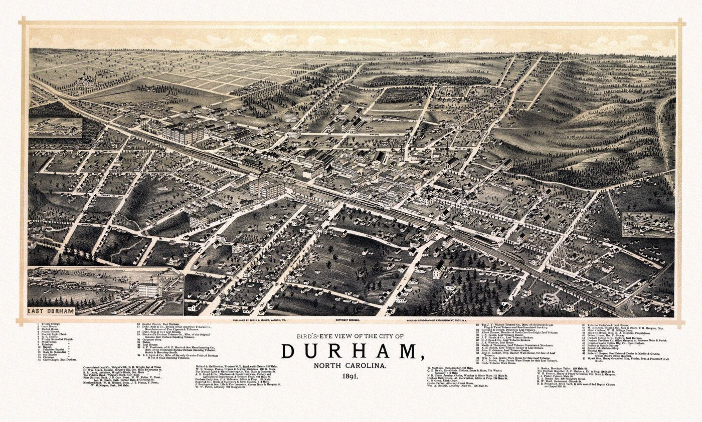 Antique Map Of Durham North Carolina 1891 Durham County I Love The