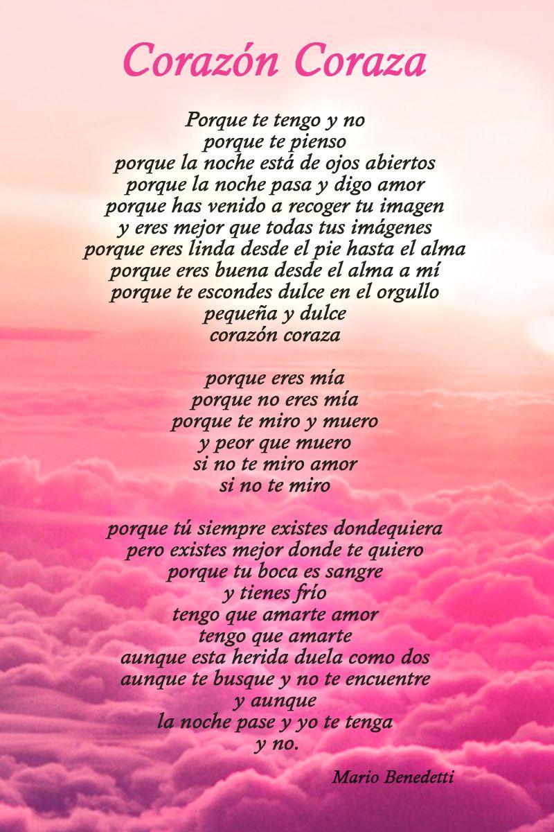Corazon Coraza Mario Benedetti Amor Poemas De Amor