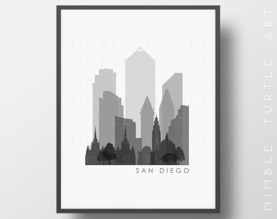 San Diego Skyline Printable Download Black by NimbleTurtleArt ...