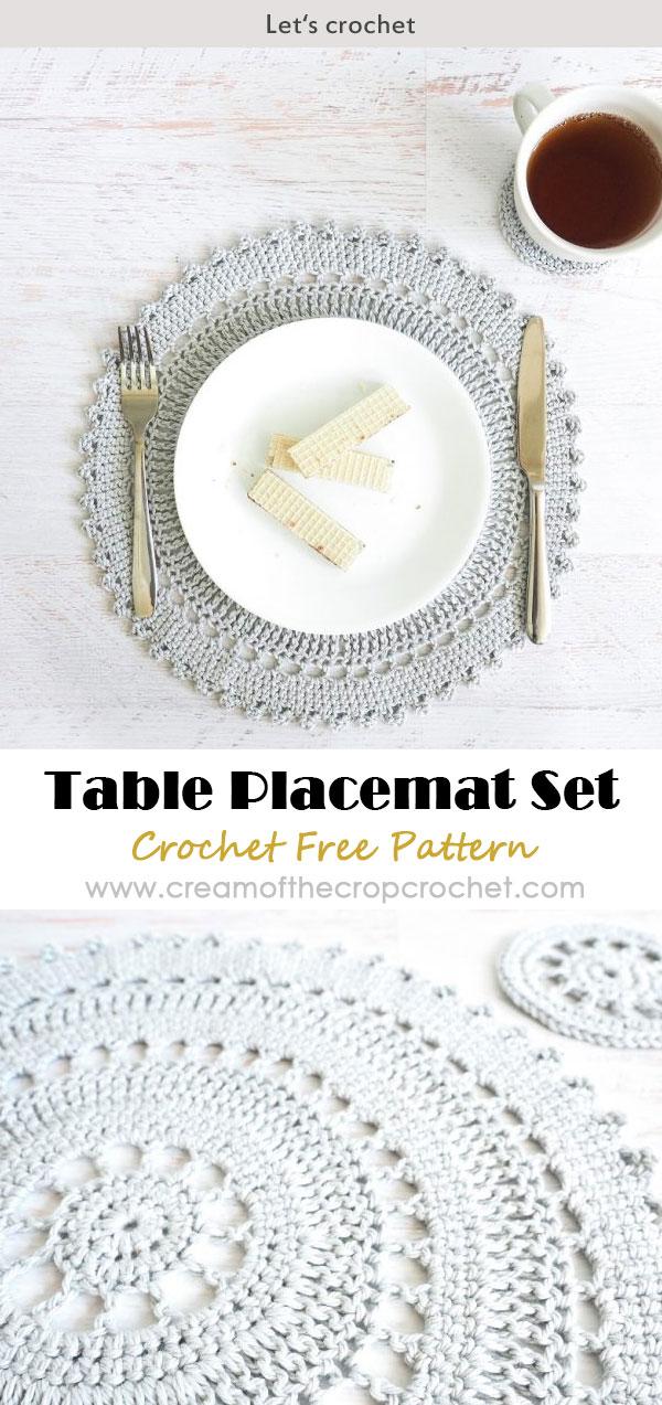 Crochet Table Placemat Set Crochet Free Pattern Crochet Coasters Free Pattern Crochet Placemats Crochet Table Runner