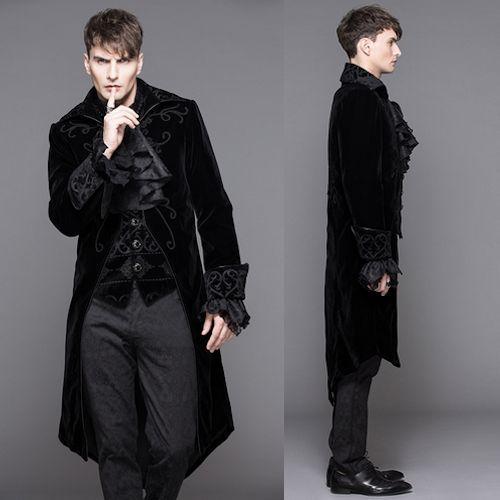men black embroidered victorian gothic fashion dress