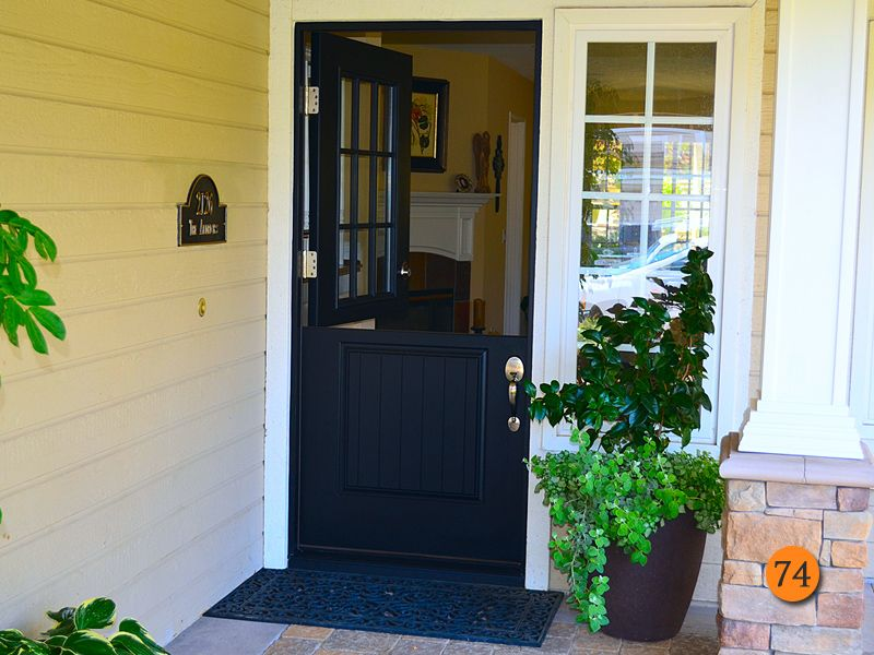 After Plastpro Smooth Fiberglass Dutch Door Painted Black Model Drs2g With 9 Light Top And Planked Bottom Panel