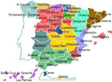 Mapa de Espaa por provincias para escolares  Mapas del Mundo