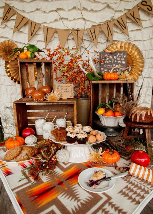 Thanksgiving Dessert Buffet by The Pink Tumbleweed is part of Thanksgiving dessert Table - Thanksgiving Dessert Buffet created for Crates & Pallet by www ThePinkTumbleweed com For original project details, click here