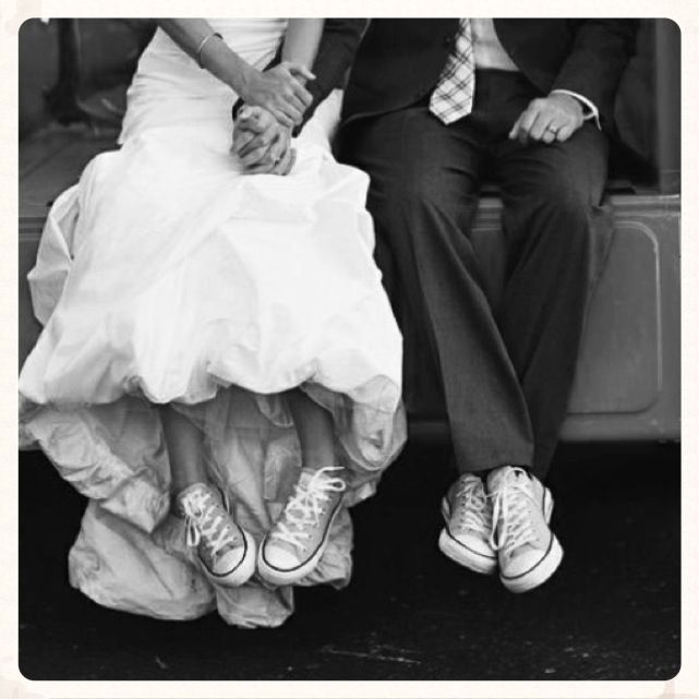 Wedding. Just married. Converse All star