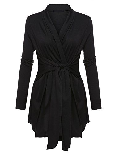 c84613d16c Pagacat Womens Classic Long Sleeve Irregular Tie Front Cardigan Black XL      More info could be found at the image url. (This is an affiliate link)