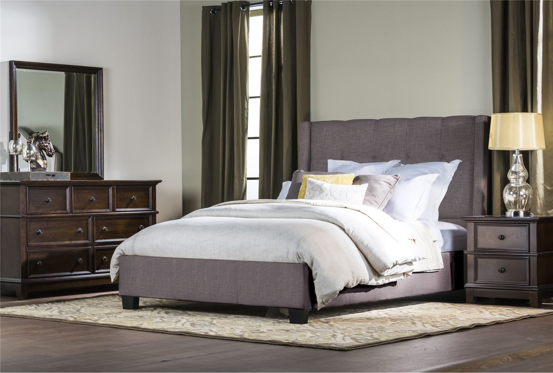 damon california king upholstered platform bed living spaces