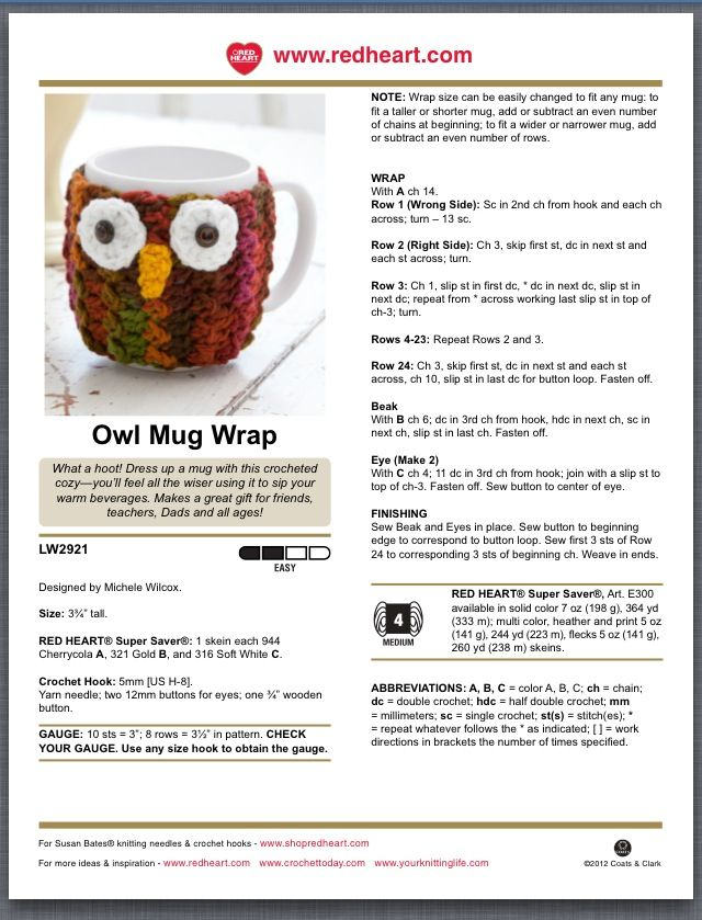 Owl mug wrap | crochet | Pinterest