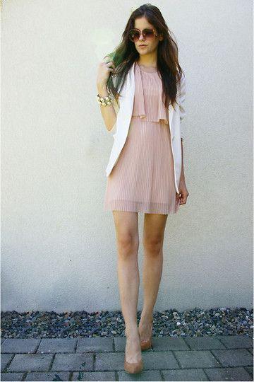 Powder Pink, Pleated, Layered Dress | White Blazer | Beige Heels ...