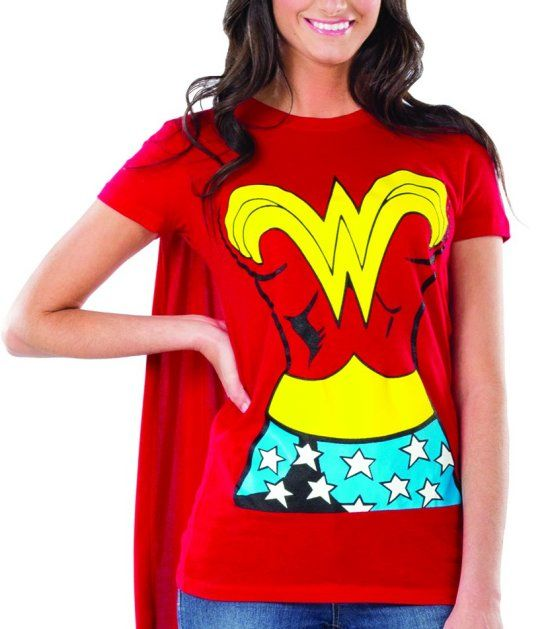 6c64de47 Plus+Size+T-Shirt+Wonder+Woman | Wonder Woman Graphic T Shirt w Cape L Large  Womens Adult Costume Shirt .