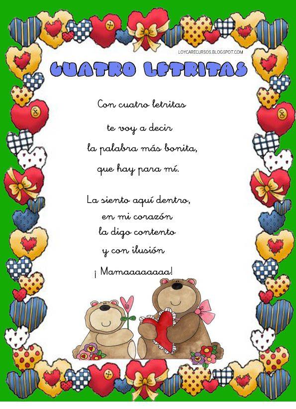 Cuatro Letritas Jpg 595 822 Píxeles Poema Para La Madre Manualidades Dia De Las Madres