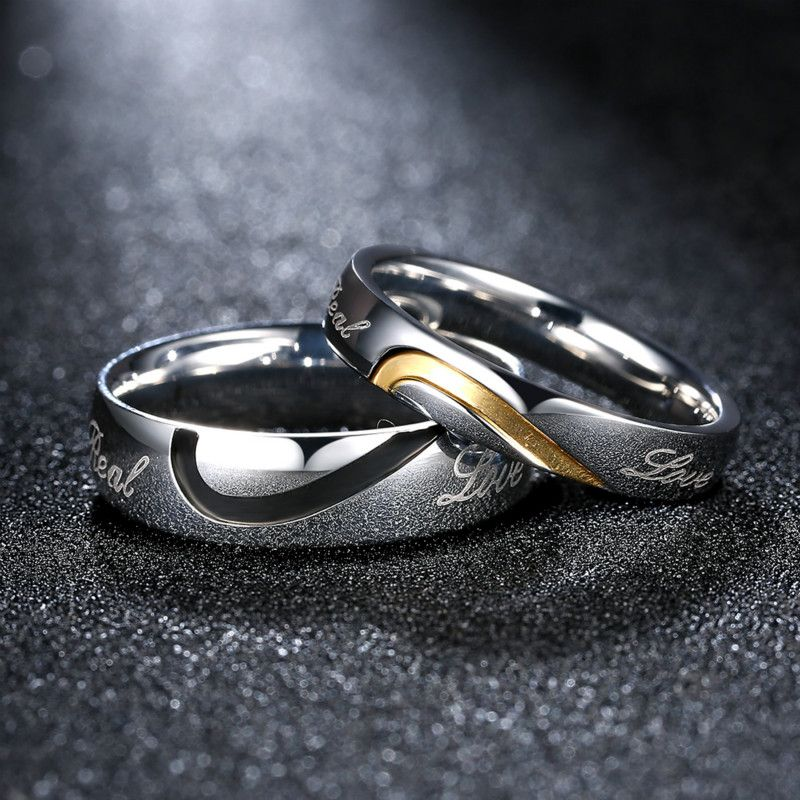 hers promise wedding and lover item bands pure layer plating rings gold handmade his titanium