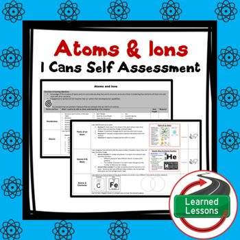 Earth Science Atoms \ Ions Student Self-Assessment of Mastery I - student self assessment