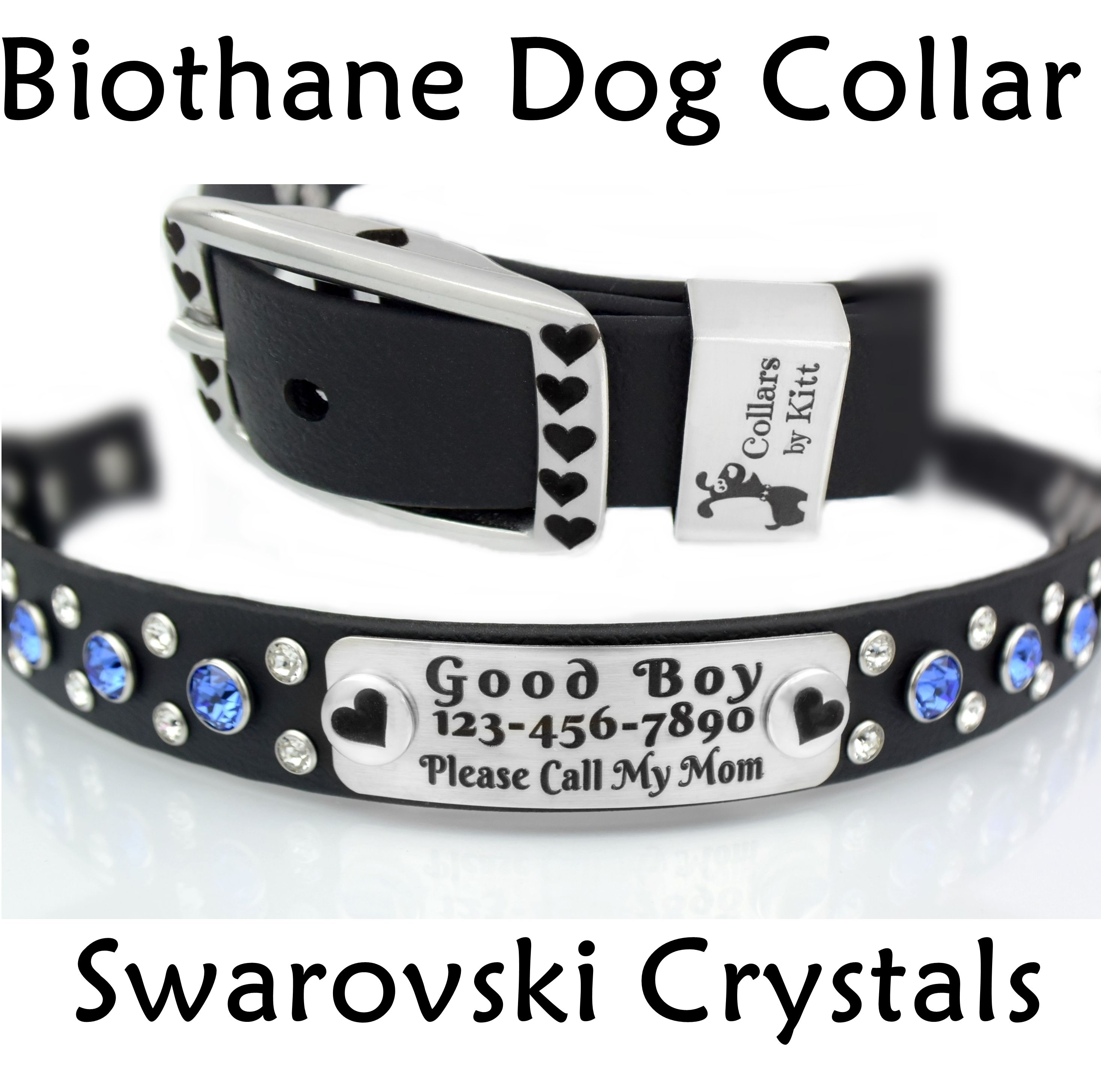 Biothane Dog Collar Crafted With Swarovski Crystals And Stainless