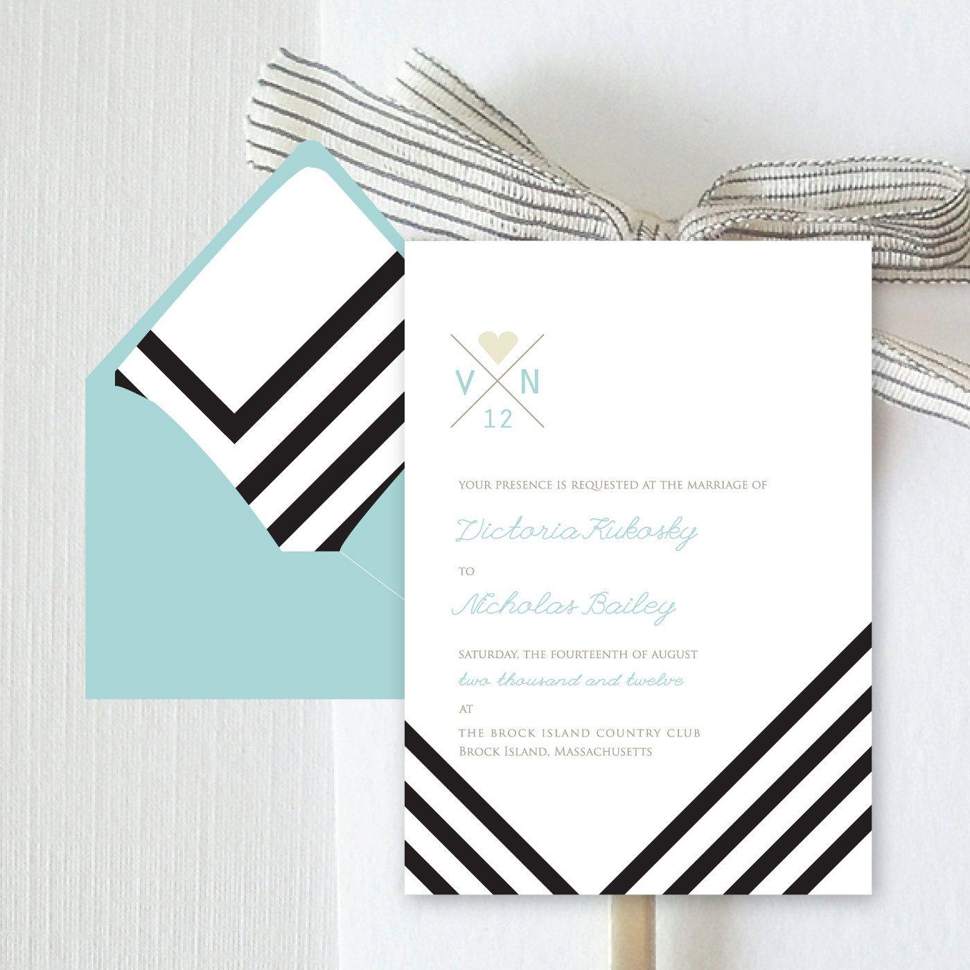 Chevron Patterned Wedding Invitation | Invitation to a partay ...