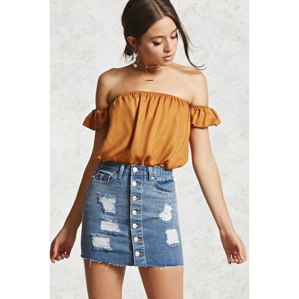 9b89071fb1 Forever21 Distressed Denim Skirt (295 ZAR) ❤ liked on Polyvore featuring  skirts, light denim, ripped skirt, forever 21 skirts, forever 21, button  front ...